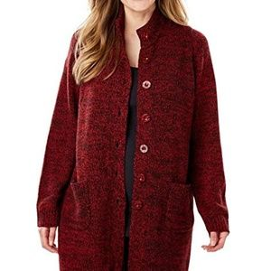 Sweaters - Marled Plus Size Fresh Red Black Sweater Jacket